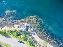 海湾Creran鸟瞰图由海湾Creran桥梁的 库存图片