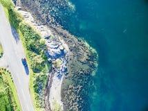 海湾Creran鸟瞰图由海湾Creran桥梁的 免版税库存照片