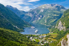海湾geiranger挪威 免版税库存图片