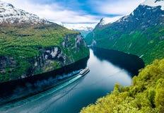 海湾geiranger挪威 库存照片