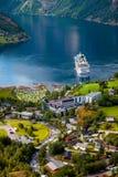 海湾geiranger挪威 免版税库存照片
