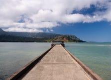 海湾hanalei考艾岛码头 免版税库存图片