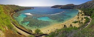 海湾hanauma全景的夏威夷 库存图片