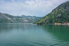 海湾kotor montenegro早晨时间 库存图片