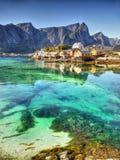 海湾Lofoten风景 免版税库存图片