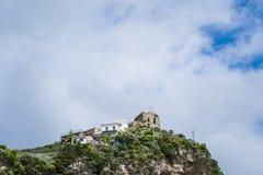 海滨城市阿马飞美丽的景色萨莱诺省的,褶皱藻属,阿马尔菲海岸,Costiera Amalfitana,意大利的区域 库存图片