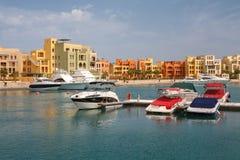 海滨广场。 El Gouna,埃及 库存图片