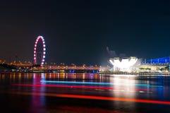 海滨广场在Singaporre的海湾沙子 库存图片