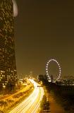 海滨广场海湾沙子和新加坡眼睛 图库摄影
