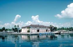 海滨广场被停泊的风船小的数 免版税库存照片