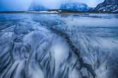 海滨沙子稀奇的设计在Skagsanden海滩的在挪威 库存图片
