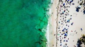 海滨del卡门公开海滩鸟瞰图在金塔纳罗奥州,墨西哥 图库摄影