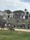 海滨del卡门墨西哥玛雅废墟在tulum 库存照片