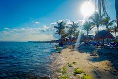 海滨DEL卡门,墨西哥- 2017年11月09日:享受在海滩的未认出的人民看法海滨del卡门在 免版税库存照片