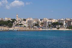 海滩中心cristo islan majorca波尔图城镇 库存图片