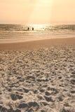 海滩丹麦日落 库存照片