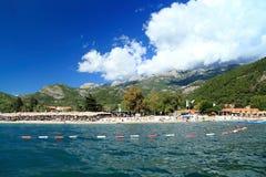 海滩亚得里亚海的海岸的黑山 免版税库存图片