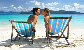 海滩亲吻 免版税库存照片