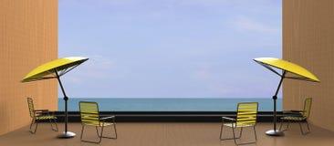 海滩休息室和黄色在海的Sundeck 库存照片