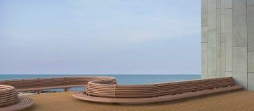 海滩休息室Sundeck和一个海滩大阳台有美好的海视图/混凝土墙 库存照片
