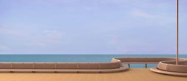 海滩休息室Sundeck和在海滩的一个大阳台有夏天海视图 免版税图库摄影
