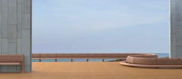 海滩休息室Sundeck和海视图/混凝土墙的最小的阳台 库存图片