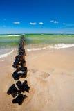 海滩侵蚀障碍 库存图片
