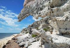 海滩停止的岩石 库存照片
