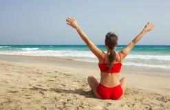 海滩健身 免版税图库摄影