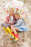 海滩儿童假期 库存照片