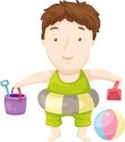 海滩儿童向量 库存图片