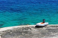海滩充气救生艇地中海橡胶 库存图片