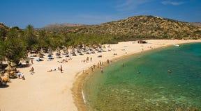 海滩克利特希腊掌上型计算机vai 免版税库存图片