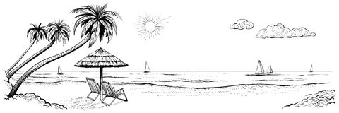 海滩全景 导航海边的例证与棕榈、两把椅子、伞和游艇的 库存图片