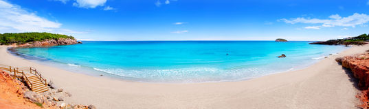 海滩全景ibiza的海岛 库存照片