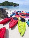 海滩划皮船热带 图库摄影