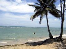 海滩划皮船的加勒比 免版税库存图片