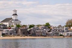 海滩前的鳕鱼安置provincetown 免版税图库摄影