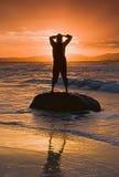 海滩剪影 库存照片