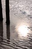 海滩剪影 免版税库存照片