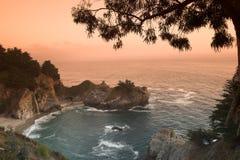 海滩加利福尼亚日落 免版税图库摄影