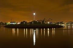 海滩加利福尼亚被点燃的灯塔长期 免版税库存照片