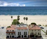 海滩加利福尼亚monica ・圣诞老人 图库摄影