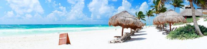 海滩加勒比全景 免版税库存照片