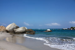 海滩加勒比哥伦比亚公园tayrona 免版税图库摄影