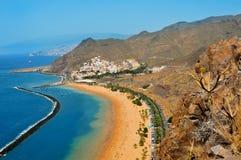 海滩加那利群岛西班牙tenerife teresitas 免版税库存图片
