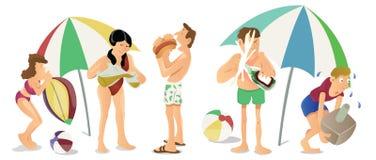 海滩动画片传染媒介的人们 库存例证