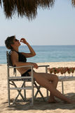 海滩午餐 免版税库存照片