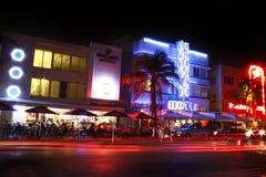 海滩南迈阿密的晚上 免版税库存照片
