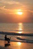 海滩卡罗来纳州渔夫 库存照片
